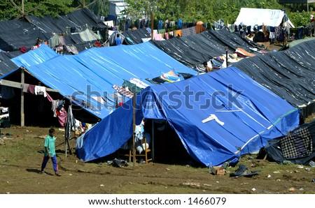 Tsunami survivor makeshift refugee camp, Aceh, Indonesia 2005 - stock photo