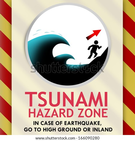 Tsunami Warning signage design - stock photo
