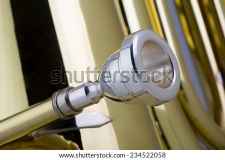 Tuba Mouthpiece, Studio Shot - stock photo