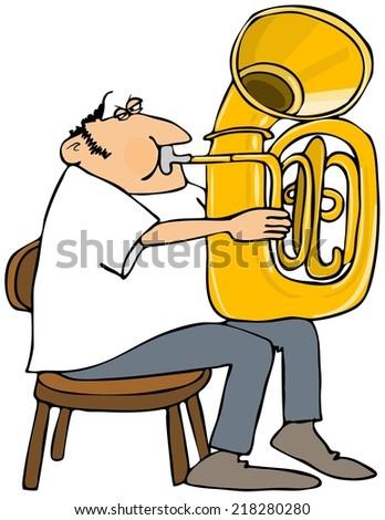 Tuba player - stock photo
