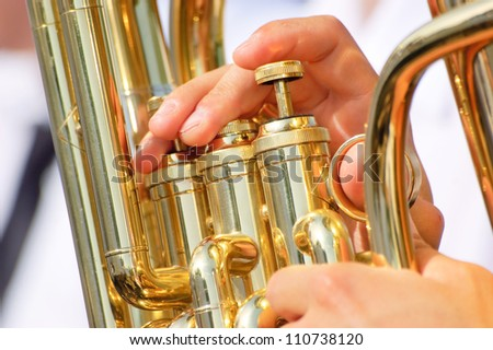 Tuba theme - stock photo