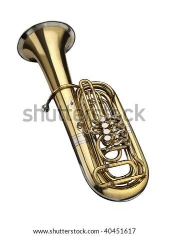 Tuba, wind instrument. On a white background - stock photo