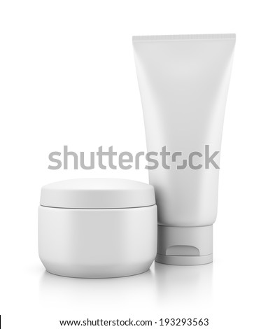 Tube and jar of body cream isolated on white background with reflection effect. Make-up, beauty, hygiene and cosmetics illustration.