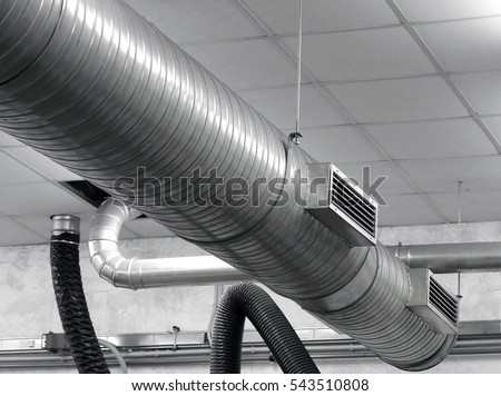 air conditioning tube. Tube Of An Air Conditioning System In The Industrial Factory B