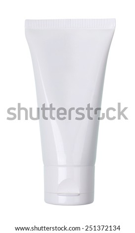 Tube Of Cream or Gel white plastic product isolated on white, clipping path and alpha channel included.