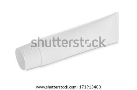 Tube Of Cream Or Gel white plastic product. isolated over white background