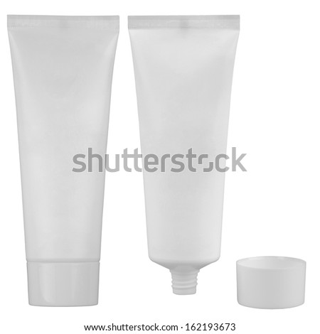 Tube of cream or tooth-paste isolated on white background