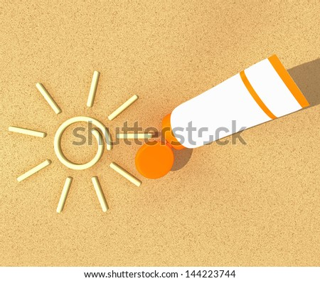 tube of sunscreen on beach sand with a painted sun