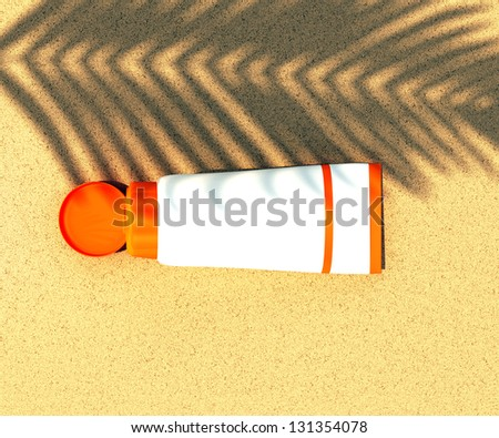 tube of sunscreen on beach sand with the shadow of a palm branch