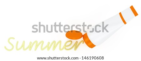 tube of sunscreen with a painted summer cream. Isolated on white background - stock photo