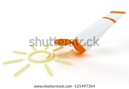 tube of sunscreen with a painted sun cream. Isolated on white background