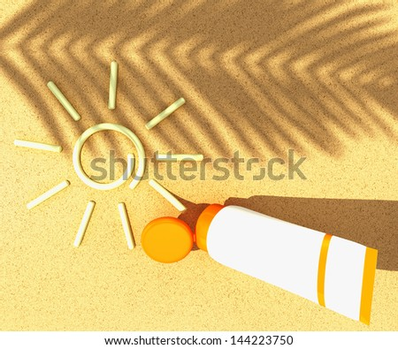 tube of sunscreen with a painted sun on beach sand with the shadow of a palm branch