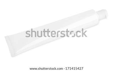 Tube of toothpaste isolated on white with clipping path