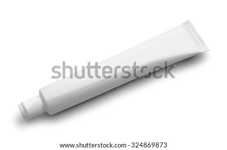 Tube of Toothpaste with Copy Space Isolated on White Background.