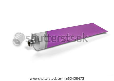 Tube of white and lilac color on a white background