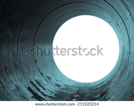Tube tunnel pipe with blank copy space - cool cyanotype