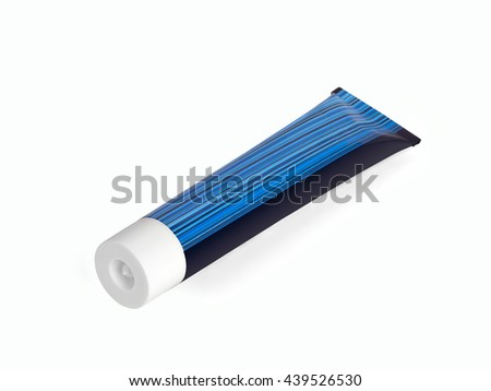 Tube with blue stripes on a white background