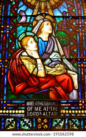 TUCSON ARIZONA APRIL 24: Stained glass window Cathedral of Saint Augustine on april 23 2014 in Tucson Arizona USA Saint Augustine Cathedral is the mother church of the Roman Catholic Diocese of Tucson