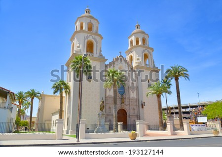 TUCSON ARIZONA APRIL 24: The Cathedral of Saint Augustine or Saint Augustine Cathedral is the mother church of the Roman Catholic Diocese of Tucson. It is located in Tucson, Arizona. On april 24 2014 - stock photo