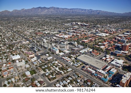 Tucson, Arizona skyline with the Catalina Mountains in the distance - stock photo