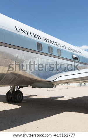 Tucson, Arizona, USA - April 25, 2016: presidential aircraft Airforce One Douglas VC-118A LiftMaster used by presidents Kennedy & Johnson 1961 - 1965 in the Pima Air & Space Museum.