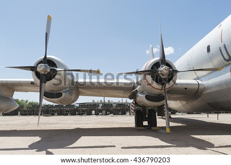 Tucson, Arizona, USA - April 25, 2016: propellers of Boeing KC-97G Stratofreighter Aerial Tanker in the Pima Air & Space Museum.