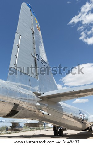 Tucson, Arizona, USA - April 25, 2016: Tailplane of aerial refueling tanker Boeing KB-50 J in the Pima Air & Space Museum.