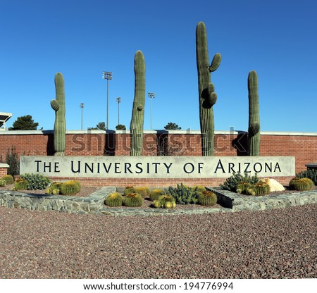 TUCSON, AZ - MARCH 16: An entrance to The University of Arizona located in Tucson, Arizona on March 16, 2014. The University of Arizona is a public research university founded in 1885. - stock photo
