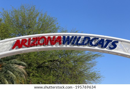 TUCSON, AZ - MARCH 16: An entrance to The University of Arizona McKale Center located in Tucson, Arizona on March 16, 2014. The University of Arizona is a public research university founded in 1885. - stock photo