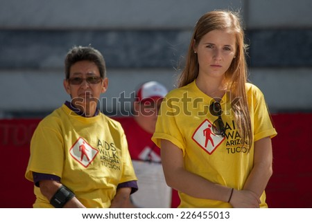 TUCSON, AZ/USA - OCTOBER 12:  Unidentified young woman at AIDSwalk on October 12, 2014 in Tucson, Arizona, USA.