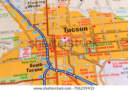 Tucson On Map Stock Photo Royalty Free 706239433 Shutterstock