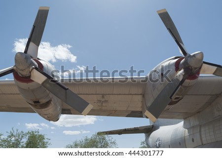 Tucson, USA - April 25, 2016: Douglas C-133 Cargomaster aircraft propellers in the Pima Air & Space Museum.
