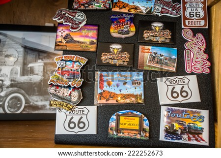 TUCUMCARI, NEW MEXICO - SEPT 7, 2014: Route 66 Mother Road New Mexico Tourist Souvenir Magnet Display