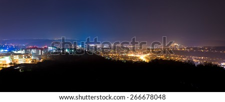 Tuebingen university city in south Germany at night - stock photo