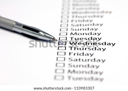 Tuesday checked in check box in a row of days of the week