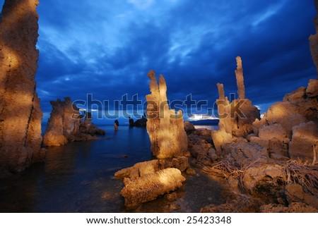 Tufas at dawn on Mono Lake - stock photo