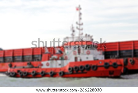 Tug Boat Blurred Background Image - stock photo