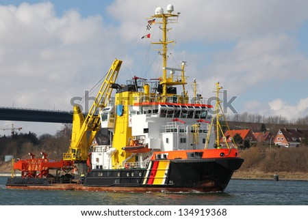 tugboat and fire boat - stock photo
