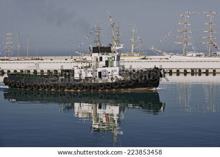 Tugboat.  Series of ships and yachts - stock photo