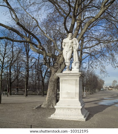 Tuillery Garden, statues of mythological heroes,Paris,January 2008 - stock photo