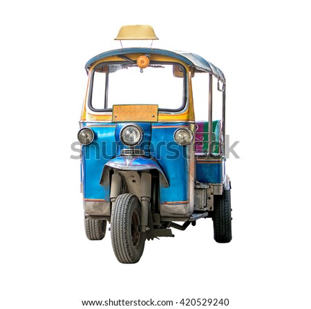 tuk-tuk isolated on white background. Traditional motor tricycle for transport passengers in Asia. Empty three-wheeler moto taxi. - stock photo