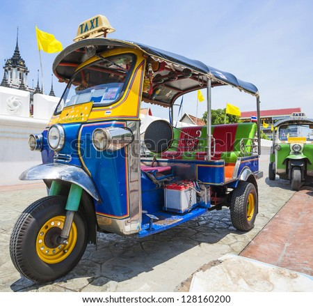 Tuk-Tuk  vehicle urban in Bangkok - stock photo