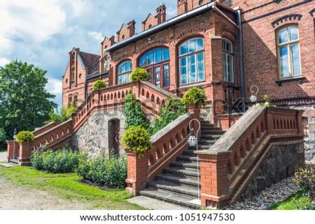 tukums region latvia august 7 2016 jaunmoku castle porch this neo