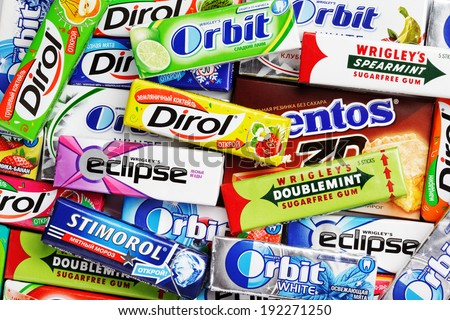TULA, RUSSIA - APRIL 28, 2014: Many various colorful chewing or bubble gum including Orbit, Dirol, Eclipse, Stimorol, Wrigley Spearmint and Doublemint