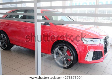 Tula, Russia, May, 8, 2015: Cars in a dealer's showroom in Tula, Russia - stock photo