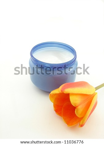 Tulip and cream, isolated on white background, concept of beauty.
