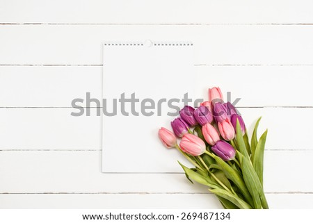 Tulip bouquet on white wooden background with blank card for text - stock photo