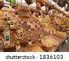 Tulip bulbs in Amsterdams flower market - stock photo