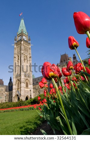 Tulip festival at the Canadian Parliament in Ottawa