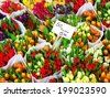 Tulip flowers for sale at a Dutch flower market - stock